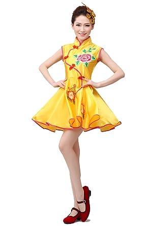 b7ff68662 Amazon.com  Chinese Folk Dance Costume Female Fan Dance Clothes Drum ...