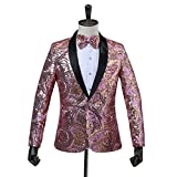 PYJTRL Mens Pink Gold Flower Pattern Wedding Groom Singer Sequins Suit Jacket