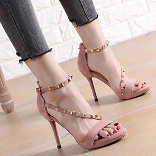 YMFIE Tacón Fino de Verano para Mujer Negro con Tachuelas y Punta Abierta con Sandalias de tacón Alto Zapatos de Fiesta B