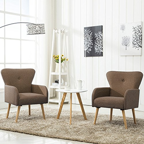 Magshion Elegant Upholstered Fabric Club Chair Accent Chair Living Room Set of 2 (Coffee) (Of Club Set Chairs Two)