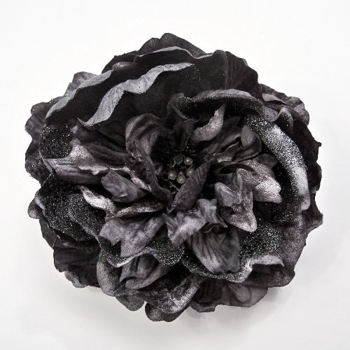Sequin Flowers Brooch (Glitter/Sequin Peony Artificial Flower Hair Clip/Pin Brooch, Pewter Grey)