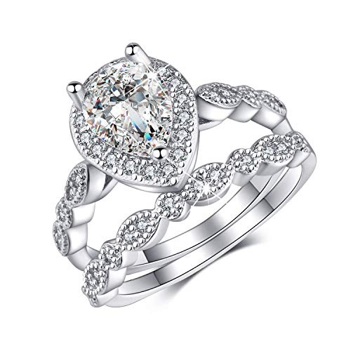(Madeone ✦Gifts for Mother's Day✦ 18K White Gold Plating Excellent Pear Cut Cubic Zirconia CZ Stone Diamond Teardrop Halo Ring Set for Women with Box Packing Size 5-10 (7))