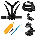 SHOOT 4in1 Travel Accessories Bundle Kit for Gopro Hero 6/5/4/3+/3/2/1/HERO(2018)/Fusion AKASO EK7000 APEMAN Campark VTIN SHOOT 4K WIFI Action Camera Head Belt Strap+ Chest Belt Strap + Car Suction Cup Mount Holder + Floating bar