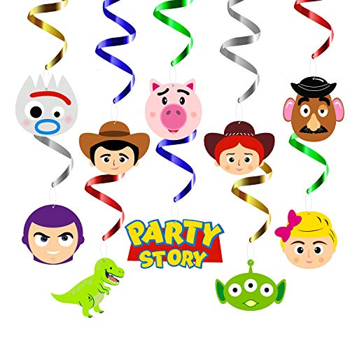 MALLMALL6 30Pcs Toy 4th Party Swirls Decorations Hanging Whirl Streamers Toy 4 Theme Birthday Party Supplies Woody Buzz Lightyear Bo Peep Jessie Rex Ceiling Spiral Room Decoration Party Favors