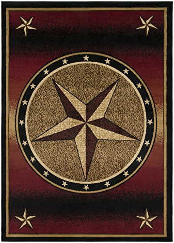 Western Lodge Red Star 8x10 Area Rug, 7'10x9'10