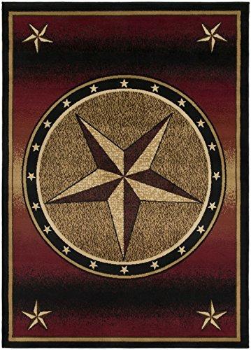 - Western Lodge Red Star 8x10 Area Rug, 7'10x9'10