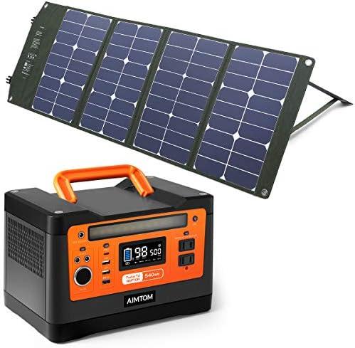 AIMTOM PowerPal Raptor 540Wh Portable Solar Generator SolarPal 80W Foldable Solar Panel