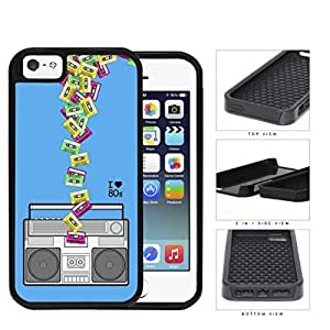 I Love 80s Boombox Tape 2-Piece Dual Layer High Impact Rubber Silicone Cell Phone Case Apple iPhone 5 5s