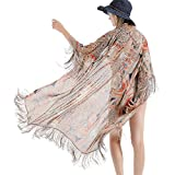ZISUEX Women Chiffon Kimono Cardigan Blouse Lightweight Silk Shawl Bat Sleeve (Khaki)