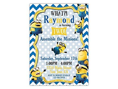 Custom Minions Birthday Party Invitations for Kids, 10pc-60pc 4