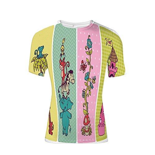 (T-Shirt for Men,Set Animals Safari Palm Tree Flowers Princess,3D Print)