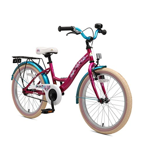 (BIKESTAR Original Premium Safety Sport Kids Bike Bicycle with sidestand and Accessories for Age 6 Year Old Children | 20 Inch Classic Edition for Girls | Bewitching Berry & Caribbean Turquoise)