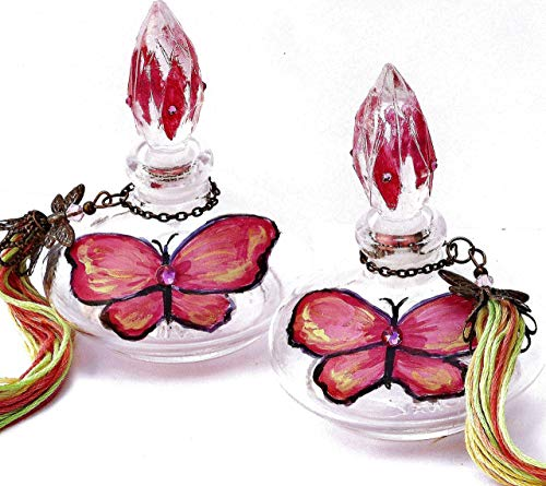 (Painted Pink Butterfly Decor Decorations Glass Perfume Bottle with Stopper Cap Swarovski Crystal)