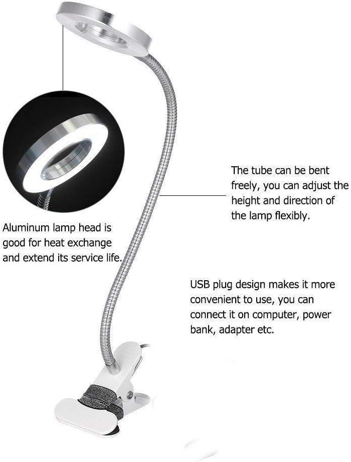 Pinkiou Lampe de bureau Lampe de tatouage de salon de beaut/é avec lampe de table LED USB