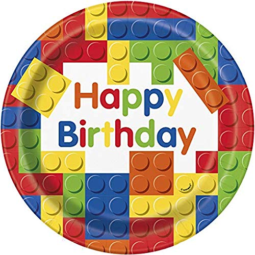 Colorful Building Blocks Birthday Party Plates and Napkins (Serves 16) -