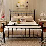 Metal Queen Bed Frame Platform with Steel Headboard and Footboard Black Iron Round Slat Mattress Foundation Modern Style No Box Spring (Queen, Black)