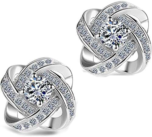 DASATA Women's Purple White 925 Sterling Silver Stud Earrings For Party Wedding