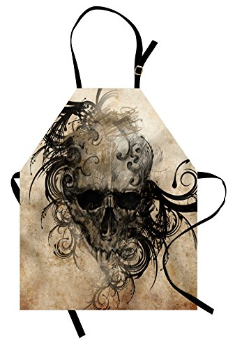 Lunarable Tattoo Apron, Handmade Image of a Skull with Tribal Floral Like Designs Around Print, Unisex Kitchen Bib with Adjustable Neck for Cooking Gardening, Adult Size, Black Brown