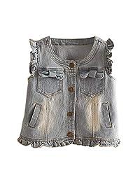 Strenme Lovely Fashion Kids Girls Bowtie Denim Jean Vest
