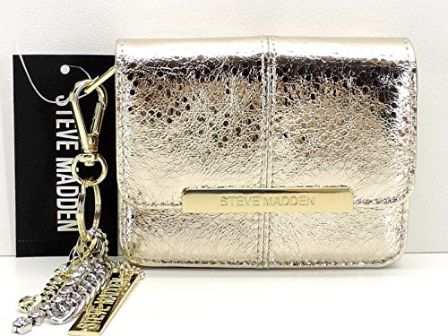Key Ring Metallic (Steve Madden Gold Metallic Accordion French Wallet + Key Ring Clip)