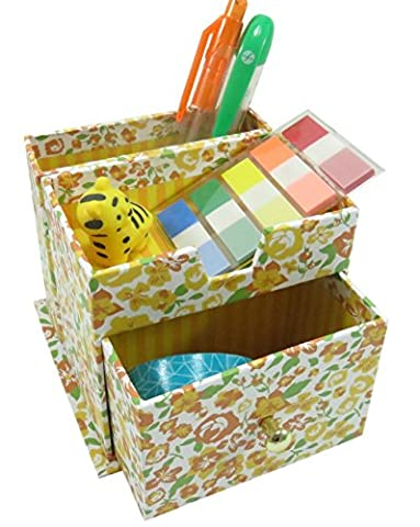 Floral Pencil Pen Holder with 3 Compartments Paperboard 4 x 3.5 Yellow (Martha Stewart Round Corner)