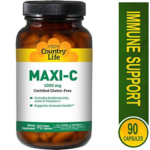 Country Life - Maxi-C Caps, 1000 mg with Bioflavonoids and Rutin - 90 Vegan Capsules