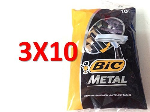 Price comparison product image Bic Metal Disposable Men's Shaving Razors, 10-Count x 3 Packs