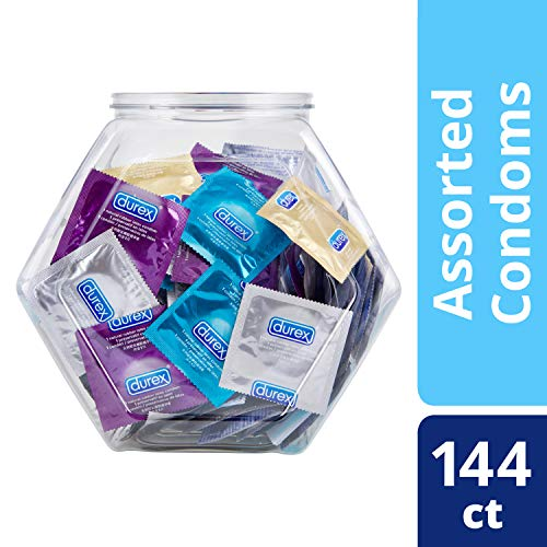 Condoms, Natural Latex, Durex Condom Bulk Variety Fish Bowl 144 Count,  Extra Lubricated, Ultra Fine, Dotted, and Large Male Condoms, HSA Eligibles ()