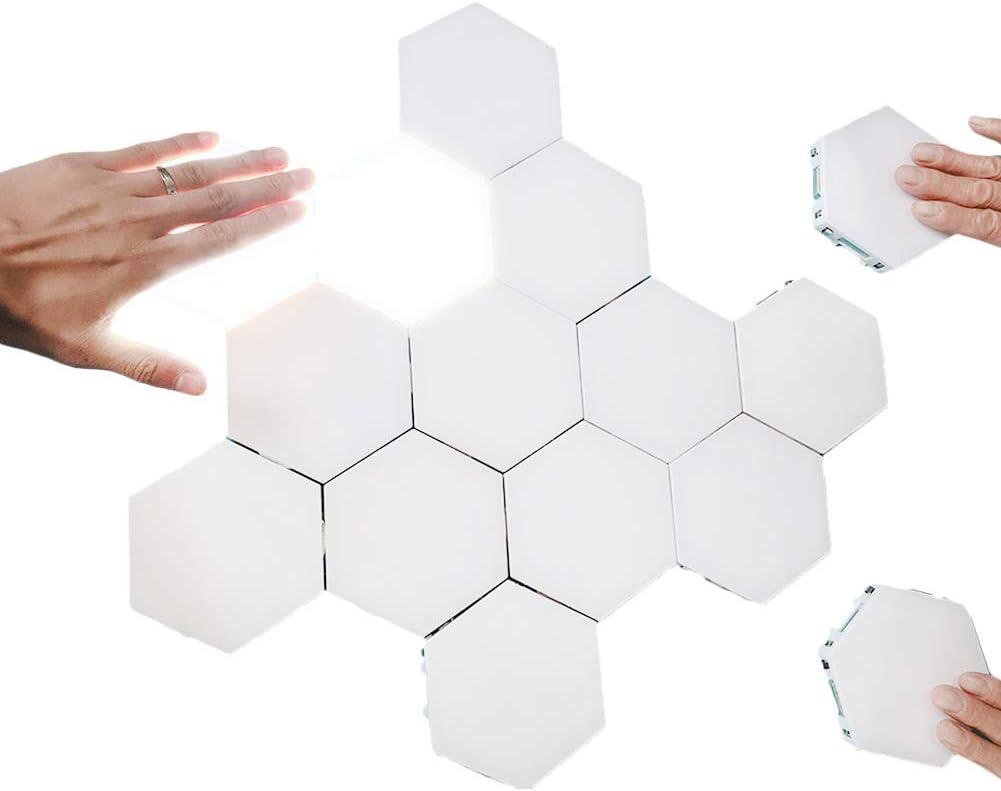 Creative Hexagonal Wall Lights Smart Touch-Sensitive LED Honeycomb Night Lights DIY Modular Assembled Splicing Modern Wall Lamps Home Decor (8 Pack)