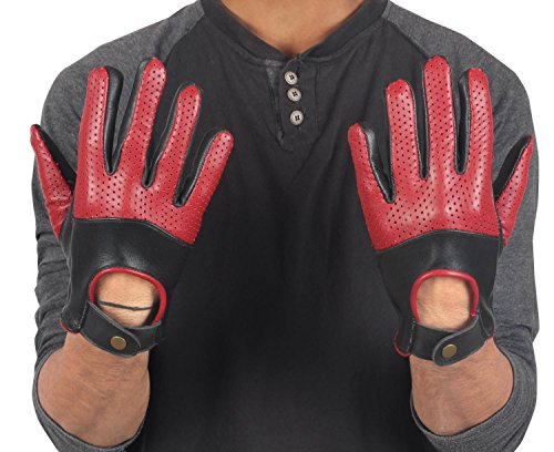Half Perforation Driving Genuine Leather Gloves - Mens Red and Black Leather Driver Gloves By Miracle (M)
