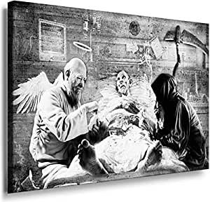 Banksy Graffiti Street Art -1198, Size 100x70x2 Cm. Printed On Canvas Stretched On A Wooden Frame.