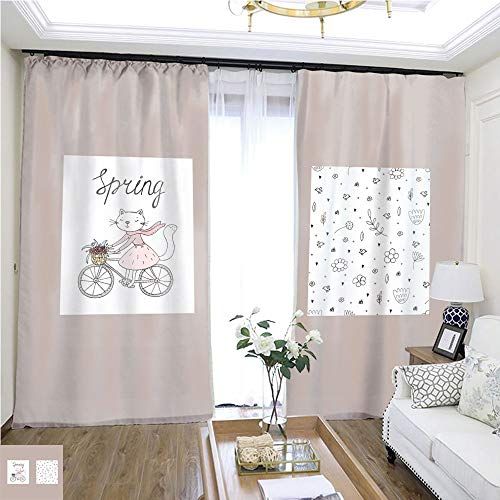 Rollup Window Cute Hand Drawn Card with Cat and Bicycle Flowers Printable templates W108 x L78 Living Room noisefree Ring top Curtain Highprecision Curtains for bedrooms Living Rooms Kitchens et -