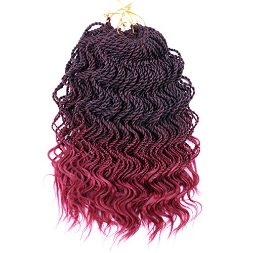 DAIRESS (6 Packs) 14Inch 35strands Wavy Senegalese Twist Crochet Hair Braids Wavy Ends Free Synthetic Hair Extensions Kanekalon Curly Crochet Twist Braiding Hair (Burgundy)
