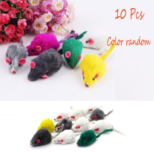 Gozebra(TM) New 10Pcs Rabbit Fur False Mouse Cat Toys Mini Funny Playing Toys For Cats Hot