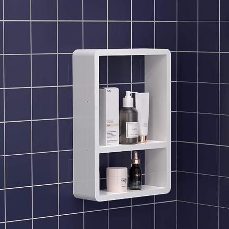 Mensola bagno ispessibile in alluminio senza trapano Mensola bagno a parete per cucina Mensole bagno Mensola doccia adesiva con portasciugamani
