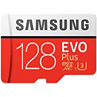 Samsung MB-MC128GA/AMZ 128 GB 100 MB/s Class 10 U3 Memory Evo Plus MicroSD card with Adapter - Amazon Exclusive Packaging - White/red