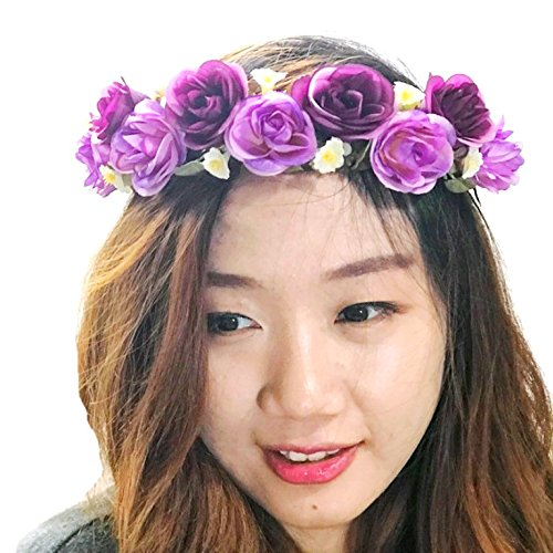 Rose Flower Crown Circlet Tiara Handmade Headband:A1 (Purple)