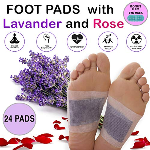 Aromatherapy Bamboo Vinegar Foot Pads - Natural & Organic Ingredients, Relieve Stress, Sleep Better, Remove Impurities - FDA Approved Upgraded Version 2 in 1 Adhesive Patch (24)
