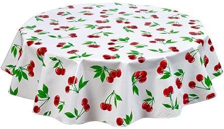 Round Freckled Sage Oilcloth Tablecloth in Cherry White - You Pick The Size!