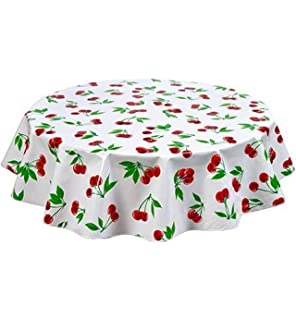 Ordinaire Round Freckled Sage Oilcloth Tablecloth In Cherry White   You Pick The Size!