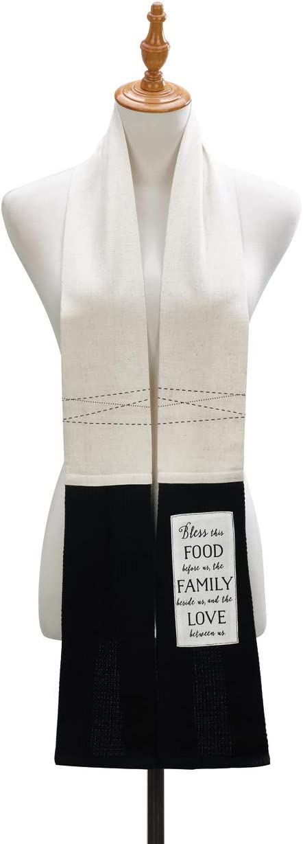 Blessing Food Family Black and White Stripe 68 inch 100% Cotton Dish Towel Boa
