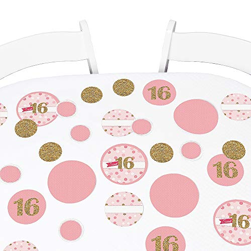 Big Dot of Happiness Sweet 16 - Birthday Party Giant Circle Confetti - Party Decorations - Large Confetti 27 Count