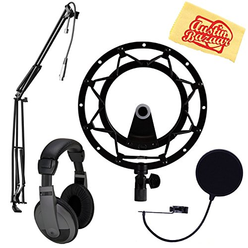 - Blue Radius II Shock Mount for Yeti and Yeti Pro Microphones - Blackout Bundle with Pop Filter, Boom Arm, Headphones, and Austin Bazaar Polishing Cloth