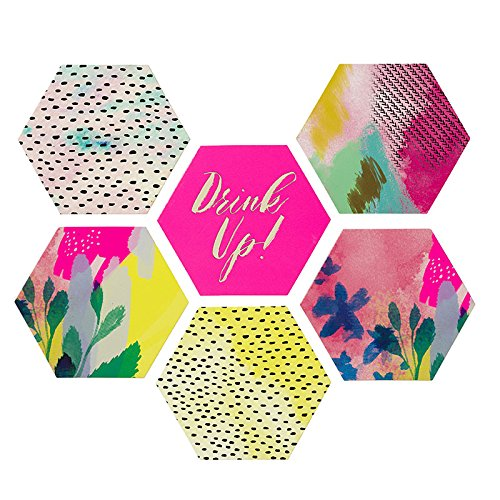 Talking Tables Fluorescent Floral Card Coasters in 6 Designs (12 Pack), Multicolor]()