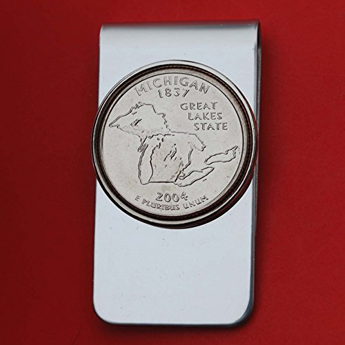 US 2004 Michigan State Quarter BU Uncirculated Coin Money Clip New