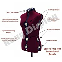 (JF-FH) ROXYDISPLAYTM 12-Dial Fabric-Backed Large Adjustable Dress Form with Base,
