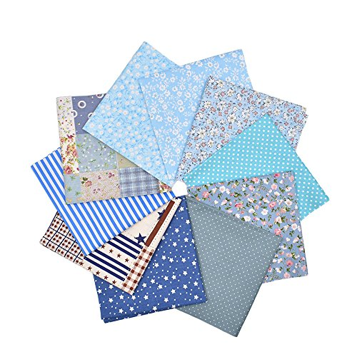 - RayLineDo 10pcs 8 x 8 inches (20cmx20cm) Print Cotton Blue Series Fabric Bundle Squares Patchwork DIY Sewing Scrapbooking Quilting Pattern Artcraft
