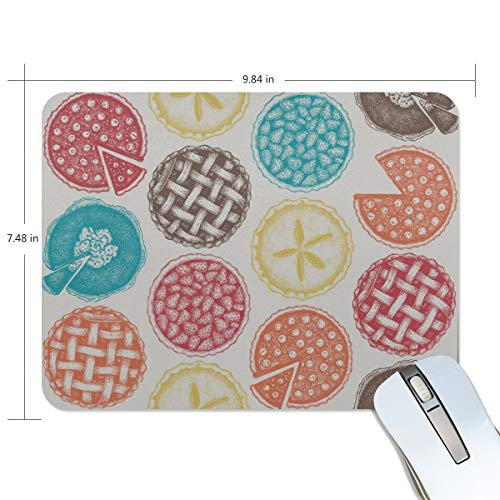 (Fashion Retro Unique Custom Mousepad Apple Pie Food Dessert Delicious Baking Printing Non-Slip Rectangle Natural Rubber Fabric Mouse Mat Gaming Mouse Pad)