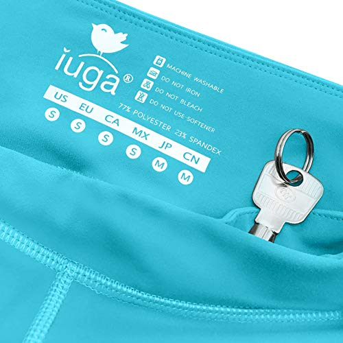 IUGA High Waist Yoga Pants Shorts with Pockets Tummy Control Workout Yoga Shorts Side Pockets (7840 Light Blue, Small) by IUGA (Image #4)