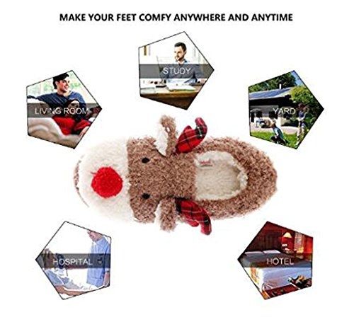 Slippers for Women, Cute Reindeer Animal Fluffy House Winter Ladies Slippers Shoes, Comfortable Non Skid Home Slippers by WAREN (Image #5)